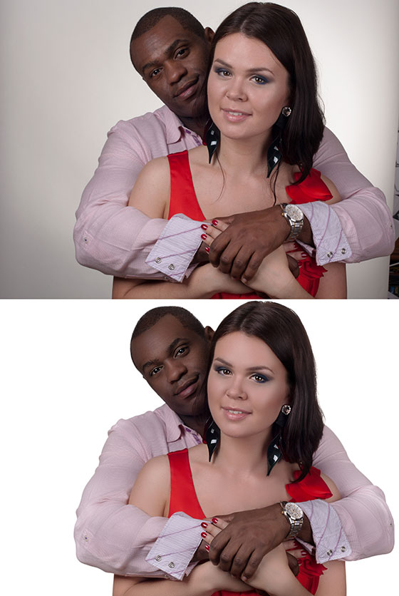 Model couple retouch before-after
