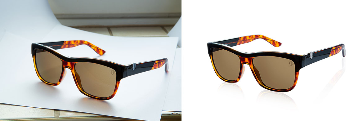 Product retouch sun glasses before after