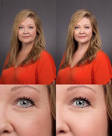 Headshot retouching before - after