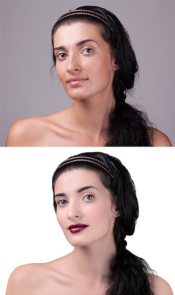 Makeup retouching and application, eye color change