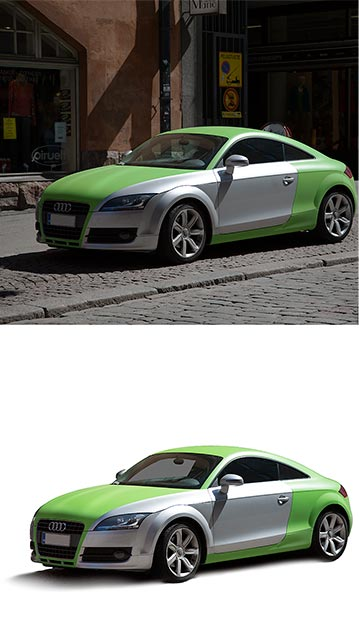 Background removal, product retouch Audi car before after
