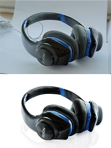 Product retouch headphones before and after